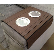 Esteira De Braço De Sofá Amadeirada Com Porta Copo Aluminio
