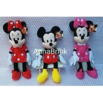 3 Pelúcias Mickey/minnie Rosa E Minnie Vermelha