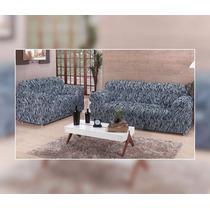 Capa De Sofa Zebra Estampada 3x2 Lugares Preto E Branco