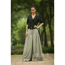 Calça Pantalona- Eg Modelo Importado Em Linho Muito Elegante