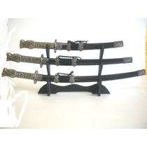 Espadas Katanas Empunhadura Cabeça De Dragão Com 3