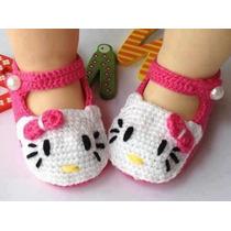 Sandália Infantil De Crochê Hello Kitty