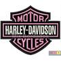 Patch Bordado Termocolante - Harley Davidson Logo Rosa 10cm