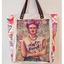Bolsa Feminina De Lona Frida Kahio Detalhe Em Couro Oferta