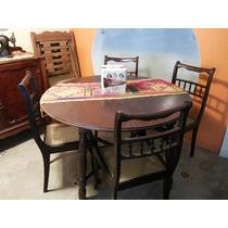 Mesa De Jantar Antiga Com 5 Cadeiras De Palinha