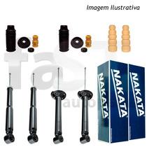 4 Amortecedores Nakata + Kits Honda Fit 2003/2008