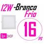 Kit 16 Painel 12w Luminaria Led Slim Quadrado Embutir Frio