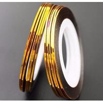 10 Rolo Fio Ouro Prata Fita Adesiva Metalizada Unha Decorada