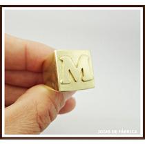 Anel Com Letra Em Ouro 18k