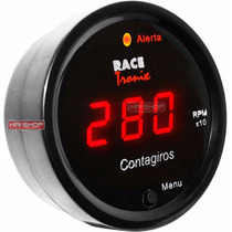 Contagiros Rpm Digital Luz Led Vm Fundo Preto 52mm Tuning