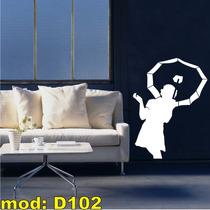 Adesivo D102 Mulher Com Guarda-chuva Dançando Na Chuva