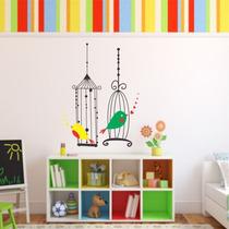 Adesivo Decorativo Gaiola Com Pássaros - Tamanho Grande