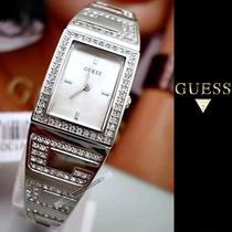Relógio Guess Crystals Cristais Swarovski Prata Original