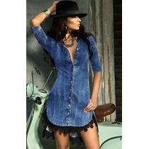 Camisao Vestido Jeansfeminino Blogueira Panicat Manga Longa