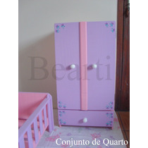 Guarda-roupas - Mobília Em Madeira Para Casa De Boneca