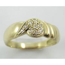 Feliz Joias - Promoção - Diamante Em Anel De Ouro 18k