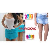 Saia Jeans Feminina Sawary Destroyed De Bico Desfiada