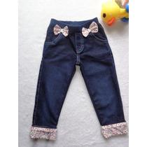 Calça Jeans Bebê Menina Com Lacinhos E Detalhes Estampa