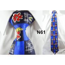 Gravata Vintage Azul 100% Seda Pura Estampa Flores N61