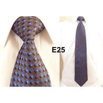 Gravata Executiva Azul E Marrom 100% Seda Pura Grossa E25