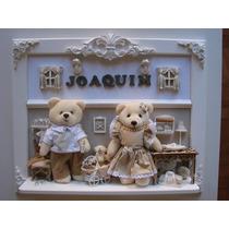 Porta Maternidade Luz Led Urso Família Pilha Quadro Bebê