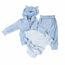 Kit Roupas De Frio Pra Bebê Com Body Calça Jaqueta Azul Rosa