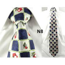 Gravata Vintage Azul Xadrez 100% Seda Pura Estampa Flor N08