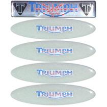 Kit 4 + 1 Adesivos Refletivos Triumph Resinado Capacete Moto