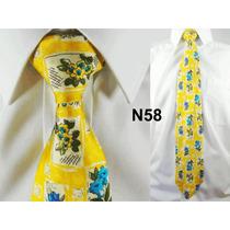 Gravata Vintage Amarela 100% Seda Pura Estampa Flores N58