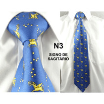 Gravata Vintage Azul 100% Seda Pura Signo Sargitário - N03