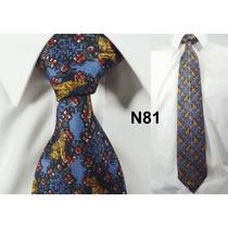 Gravata Vintage Azul 100% Seda Pura Estampa Tigre N81