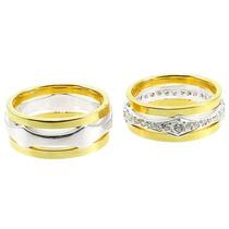 Par Alianças Ouro 18k E Diamantes 25 Gramas 32 Diamantes.