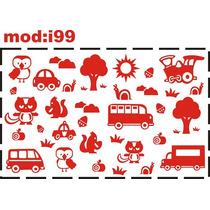 Adesivo I99 Carro Carrinho Caminhão Ônibus Sol Animais