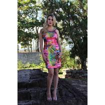 Vestido Estampado Curto Com Pedras Coloridas