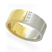 Par De Alianças De Ouro E Ouro Branco 18k Com Diamante J R.