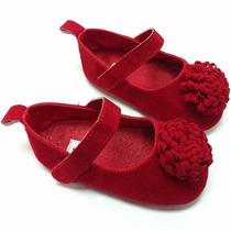 Sapatilha Baby Camurça Menina Vermelha Pronta-entrega