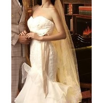 Vestido De Noiva Estilo Rabo De Peixe + Véu Curto