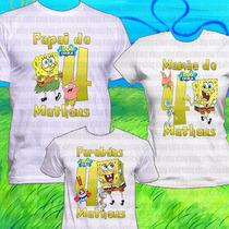 3 Camisetas Bob Esponja Camisa Festa Kit Aniversário Blusa