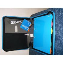 Fichario Barato Azul Ziper, Alça Divis + 200 Fls Brancas