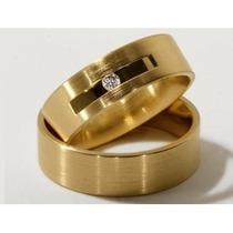 Par De Alianças De Ouro Com Diamante 18k Jr Joalheiro