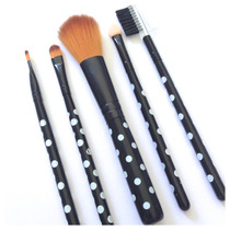Kit Com 10 Unidades Maquiagem Luxo 5 Pinceis Make Up Fashion