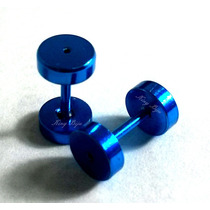 Brincos Falsos Alargadores Azuis 6mm P/ Furo De Brinco Comum