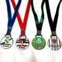 Medalha Personalizada De Metal Resinada - Kit Com 10