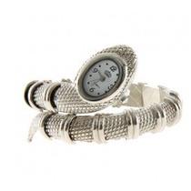 Relógio Bracelete Feminino Formato Cobra Cor Prata