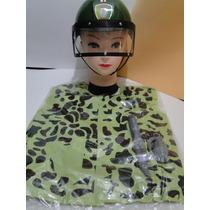Fantasia Infantil Soldado Militar Capacete Algema