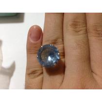 Anel Ouro 18k Pedra Água Marinha Azul Natural