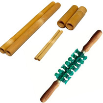 Rolo Para Massagem Turbinada + Kit De Bambus Bambuterapia