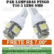 Par Lampadas Pingo T10 5 Leds Smd 5050 - W5w - Branco Xenon
