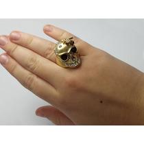 Anel Feminino Dourado Caveira Cravejado De Strass