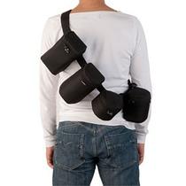 Kit Cinto Suspensório Com 5 Cases Bags Para Lentes Dslr